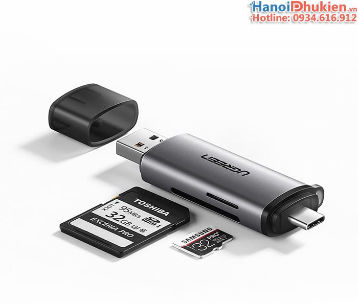 Đầu đọc thẻ SD, TF cổng Type C, USB 3.0 Ugreen 50706
