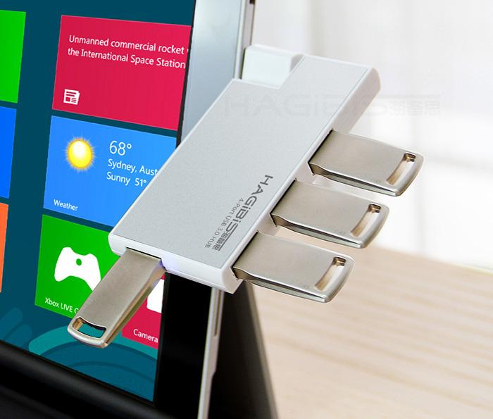Hub chia USB 3.0-1 ra 4 vỏ nhôm, nhỏ gọn cho Surface Pro