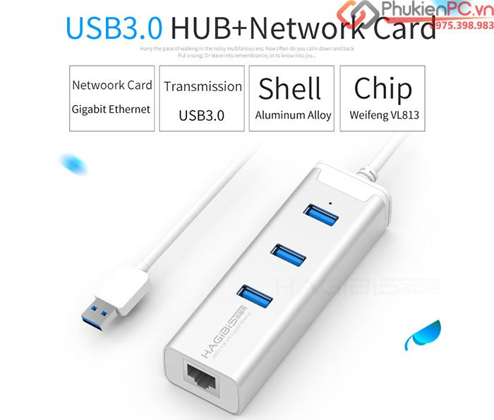 Bộ chia USB 3.0-1 ra 3 kèm LAN 1000mbp vỏ nhôm Hagibis