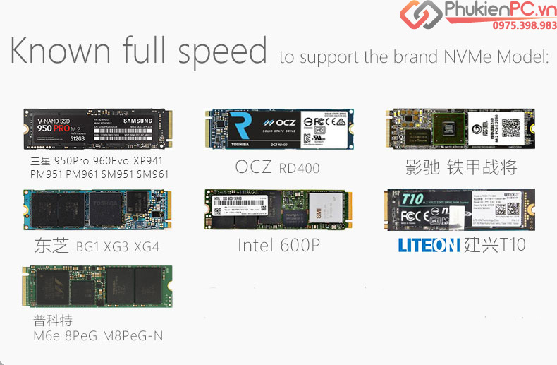 Adapter SSD M2 NVMe PCIe to PCI-E 16X