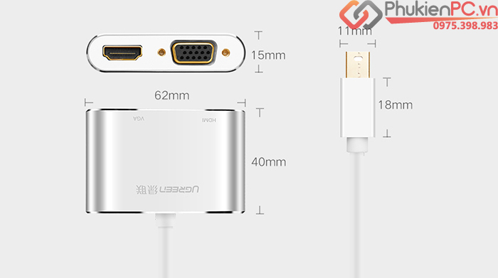 Cáp Thunderbolt sang HDMI, VGA Ugreen