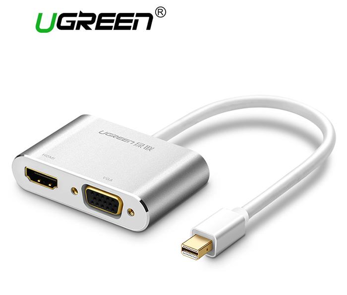 Cáp Thunderbolt sang HDMI, VGA Ugreen 20421 vỏ nhôm trắng