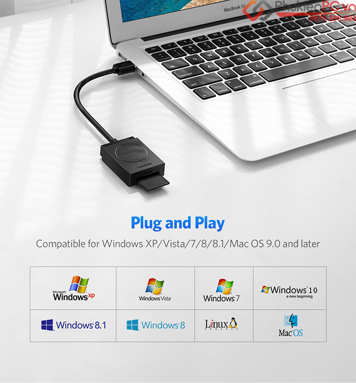 Ugreen 20250 Card reader SD, TF USB 3.0 chính hãng