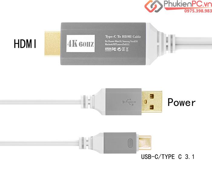 Cáp nối điện thoại ra Tivi, máy chiếu Type C sang HDMI 4K 60hz