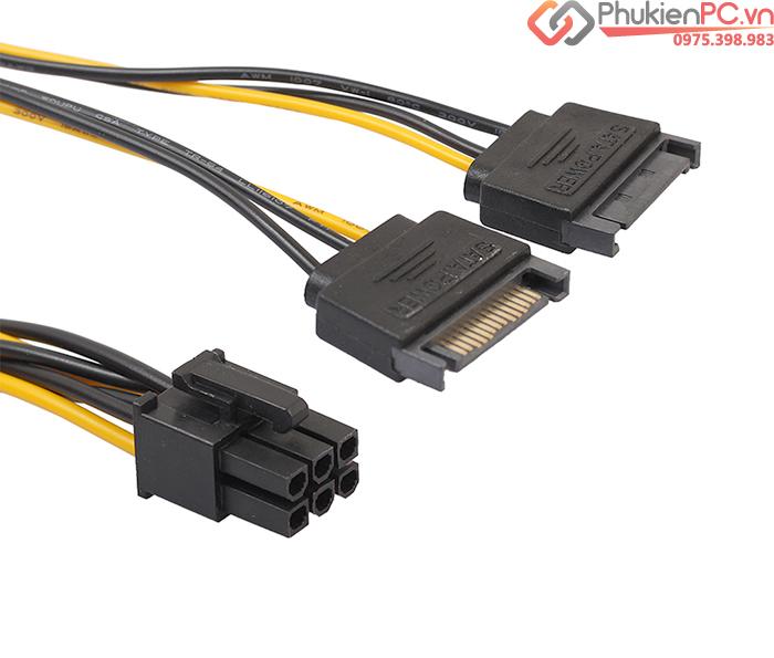 Cáp nguồn 2 SATA sang 6Pin PCI-E cho Card VGA