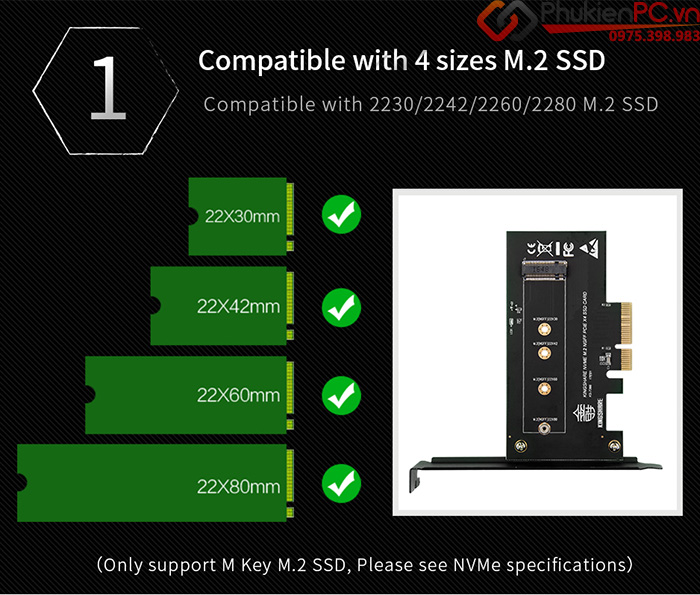 Adapter SSD M2 NVMe PCIe to PCI-E 4X Kingshare