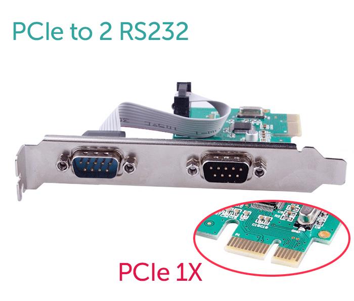 Card PCI-E sang 2 RS232 (COM, DB9) Chipset WCH382