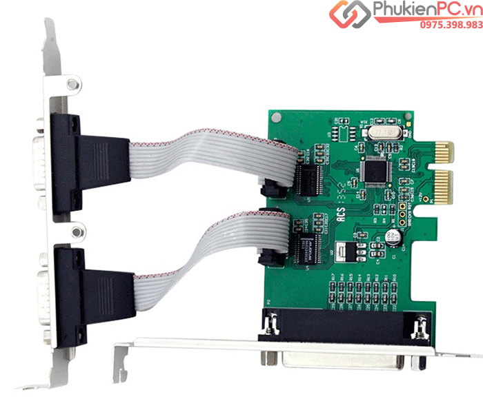 Card PCI-E 1X to 2 RS232, DB25 Parallel chipset WCH382