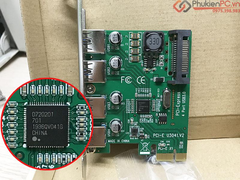 Card chuyển đổi PCI-E to 4 USB 3.0 Chipset NEC720201