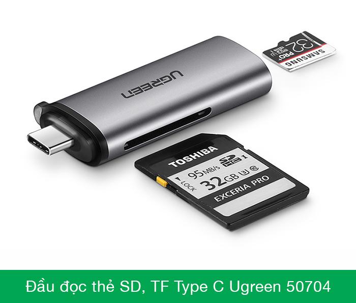 Đầu đọc thẻ SD, TF USB Type C vỏ nhôm Ugreen 50704