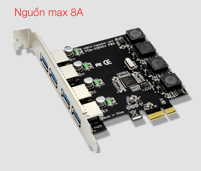 Card PCI-E to 4 USB 3.0 Chipset NEC720201 hỗ trợ 8A