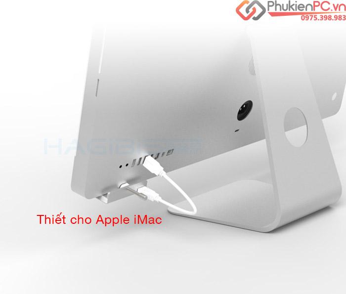 Bộ chia USB 3.0 vỏ nhôm 1 ra 4 chuyên dùng cho Apple iMac