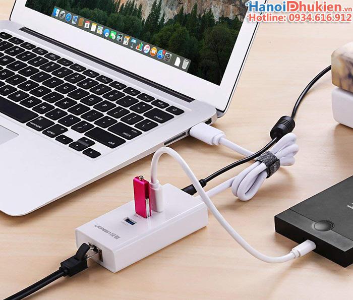 Cáp chia USB ra 3 USB 3.0 kèm LAN 1000 Gigabit Ugreen 20260