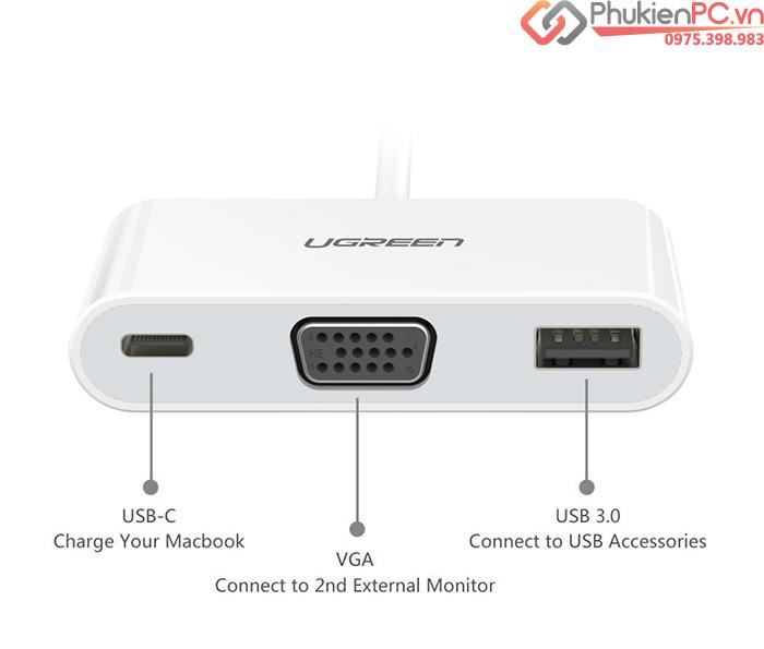 Cáp chuyển đổi Thunderbolt 3 ra VGA, USB 3.0, hỗ trợ sạc Ugreen 30376