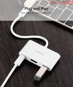Phụ kiện kết nối Macbook 12 ra máy chiếu kèm cổng USB, có sạc