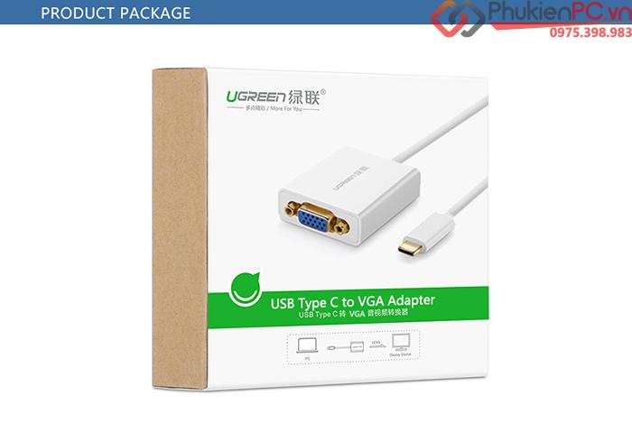 Cáp chuyển đổi USB-C sang VGA Ugreen 40274 chính hãng