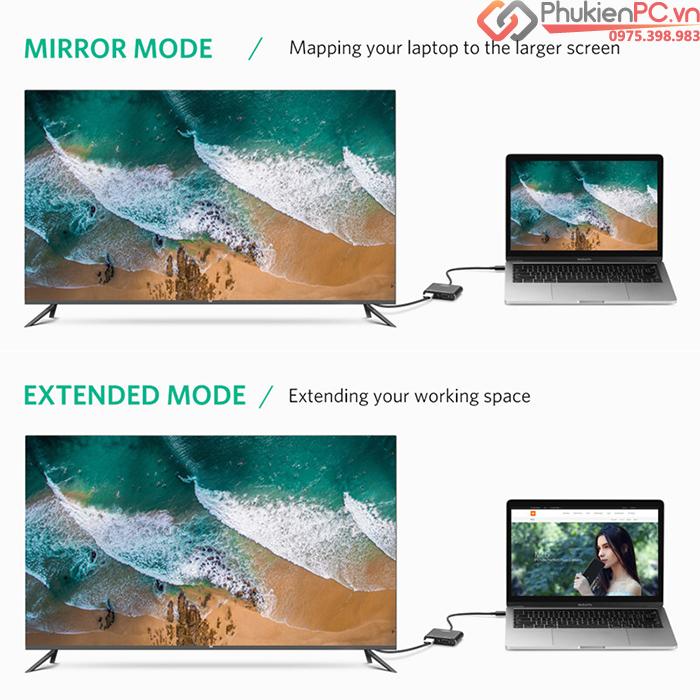 Cáp chuyển đổi Thunderbolt 3 ra HDMI, VGA Ugreen