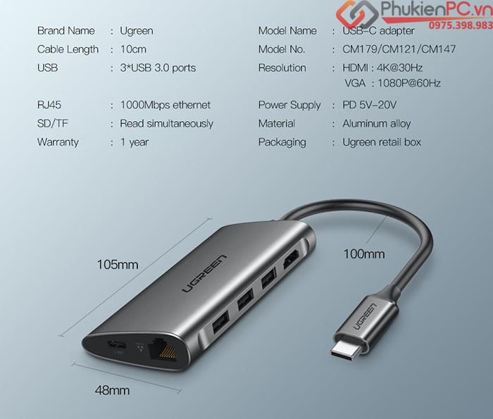 USB-C hub 8 in 1 HDMI, USB, LAN, hỗ trợ sạc PD Ugreen 50516