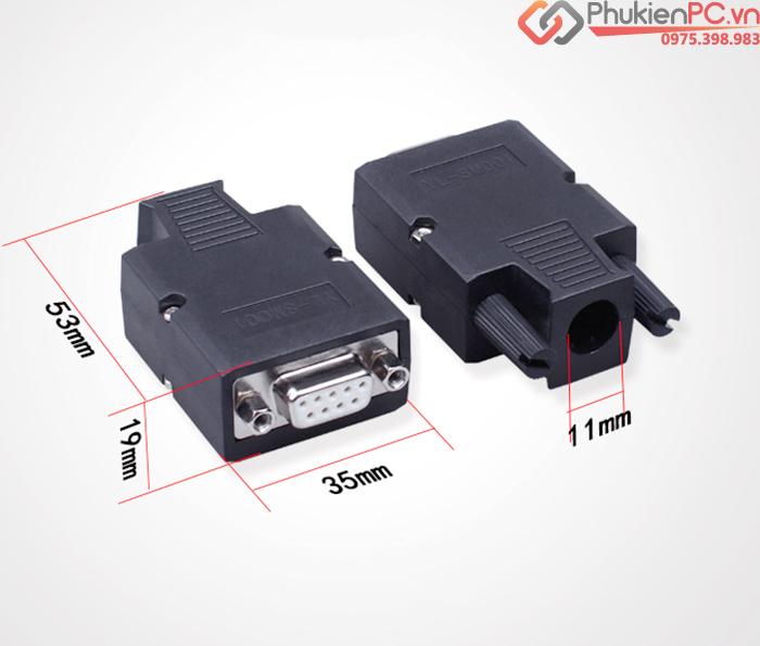 Đầu bấm cáp COM, RS232, DB9 Male vỏ ốp vặn ốc HD-Link