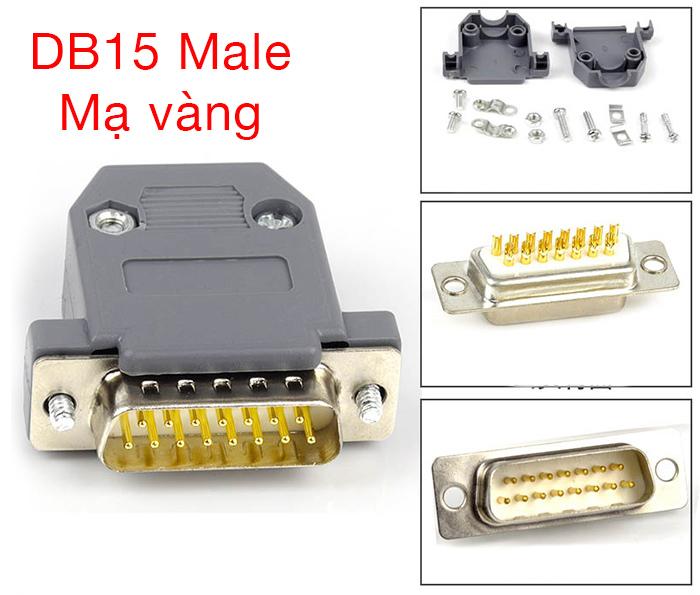 Đầu hàn COM DB15 Male mạ vàng loại 2 hàng kèm vỏ ốp