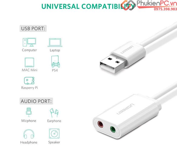 Cáp chuyển đổi Micro, Loa ra USB Ugreen 30143 chính hãng