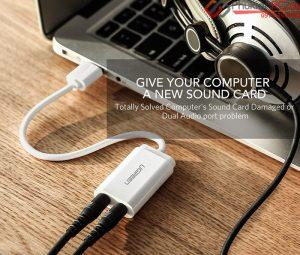 Thiết bị kết nối Micro thu âm, tai nghe headphone vào Laptop, Macbook