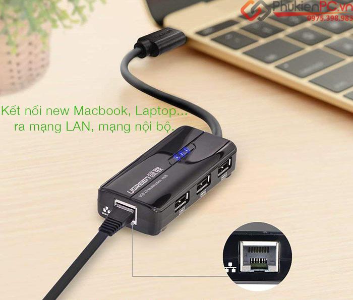 Bộ chia cổng USB-C ra 3 cổng USB, LAN 100 Mbps Ugreen 30289