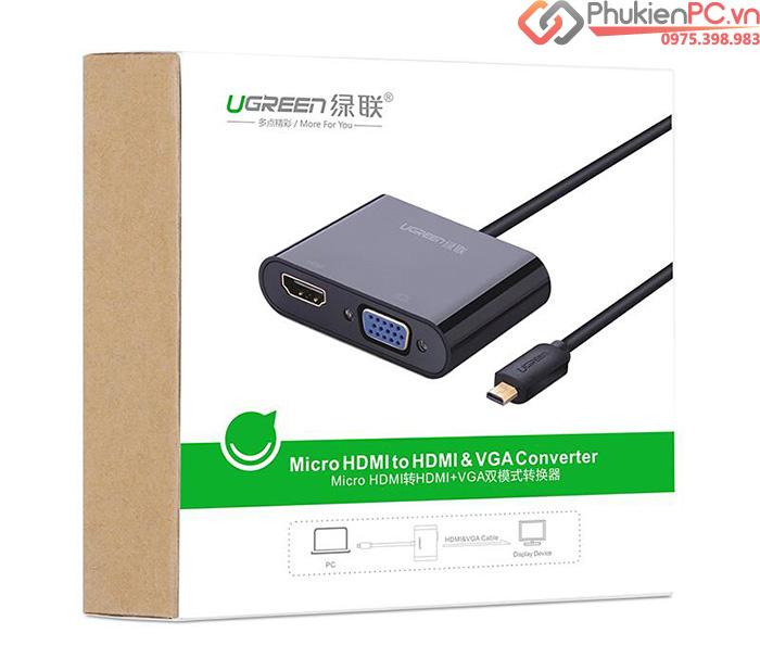 Cáp chuyển đổi Micro HDMI ra HDMI, VGA Ugreen 30355