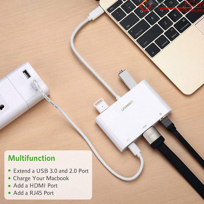 Cáp chuyển đổi Thunderbolt 3 ra HDMI, LAN, USB 3.0 Ugreen 30440