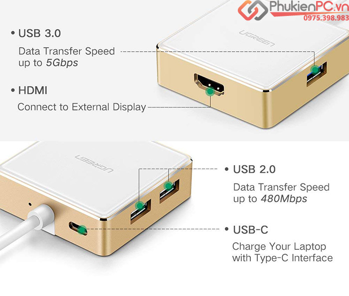Cáp Thunderbolt 3 to HDMI, 3 cổng USB Ugreen 30441 sạc USB-C