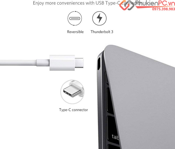 Cáp Thunderbolt 3 to HDMI, 3 cổng USB 3.1 Ugreen 40374