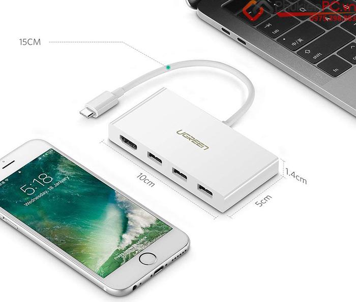 Cáp Thunderbolt 3 to HDMI, 3 cổng USB 3.1 Ugreen 40374