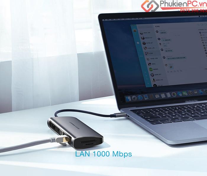 USB-C hub 9 in 1 HDMI, VGA, USB, LAN, hỗ trợ sạc PD Ugreen 40873