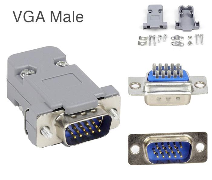 Đầu hàn cáp VGA Dsub 15pin Male kèm vỏ ốp