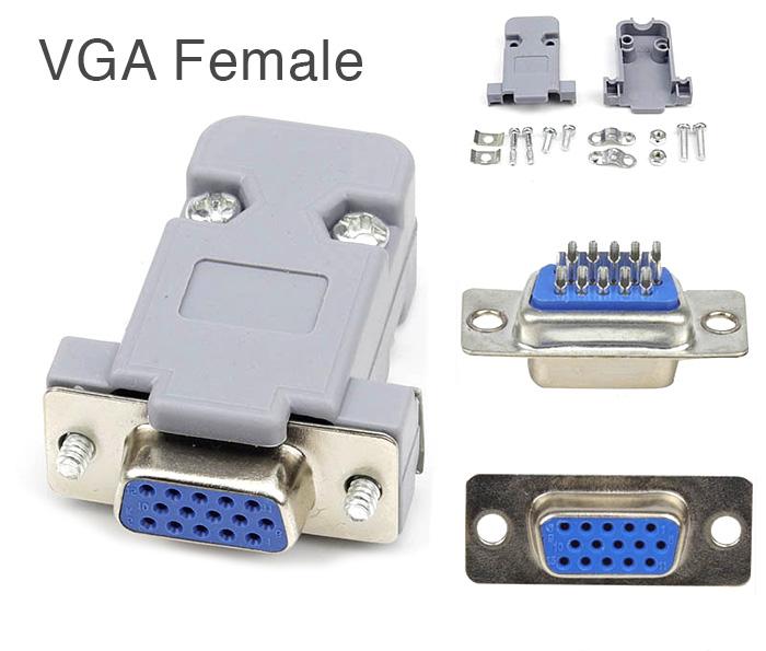 Đầu hàn cáp VGA Dsub 15pin Female kèm vỏ ốp