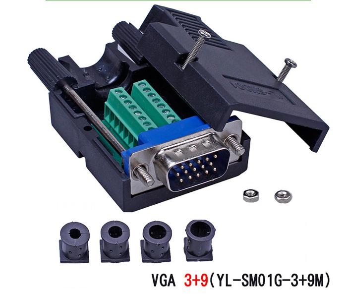 Đầu nối dây VGA Dsub 15pin 3+9 không cần hàn