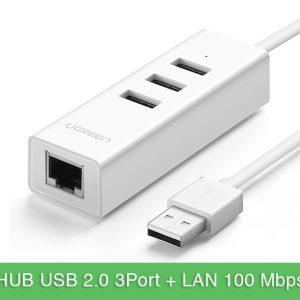 Cáp chia USB 1 ra 3 kèm cổng LAN Ethernet Ugreen 30297