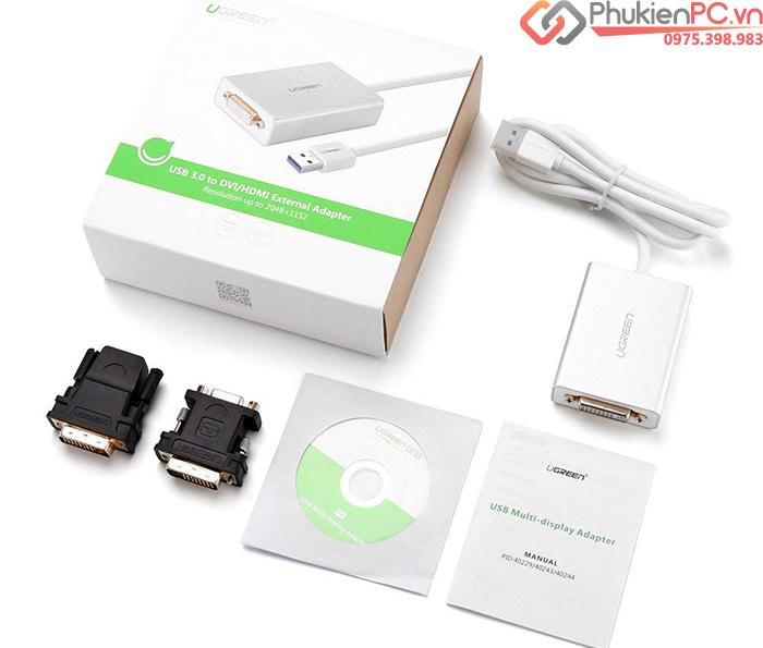 Cáp USB 3.0 sang HDMI, DVI, VGA cho Macbook, Laptop, PC Ugreen 40243