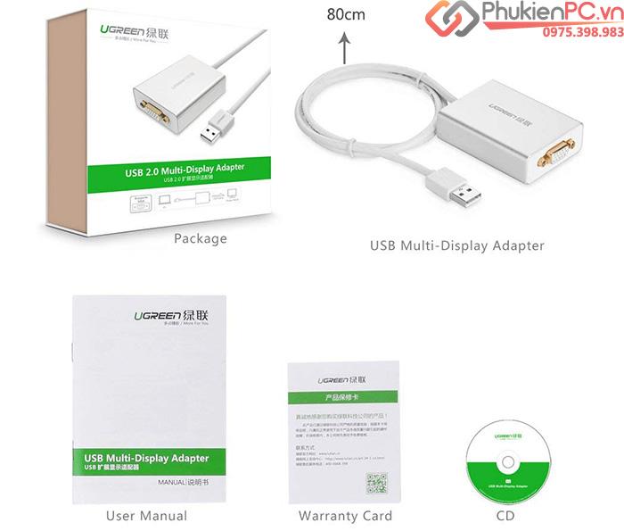 Cáp USB 2.0 sang VGA cho Macbook, Laptop, PC Ugreen 40244