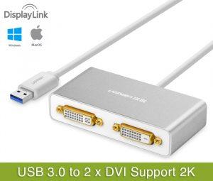 Cáp USB 3.0 to Dual DVI Ugreen 40246 cho Macbook, Laptop, PC