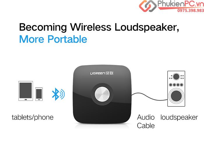 Thiết bị nhận, phát bluetooth cho Loa, âm ly cổng 3.5mm Ugreen 40758 phát nhạc không dây từ điện thoại, máy tính bảng ra loa, âm ly, receiver audio