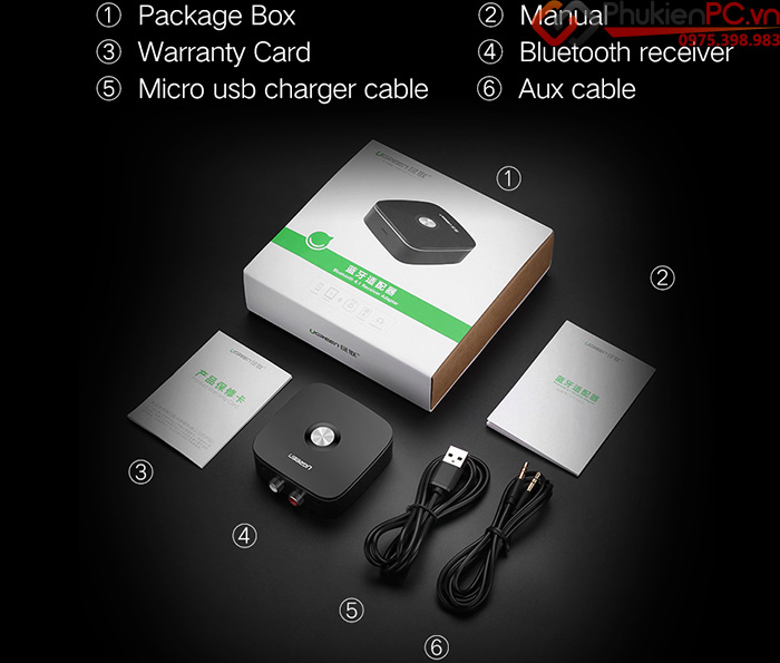 Thiết bị thu nhận âm thanh Bluetooth 4.2 cho loa, âm ly Ugreen 40759
