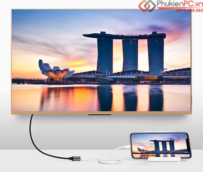 Ugreen 50291 cáp kết nối điện thoại iphone android ra Tivi, máy chiếu HDMI