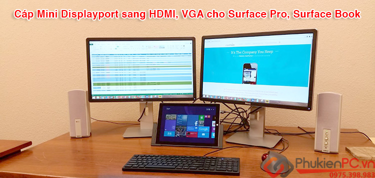 Cáp Mini Displayport sang HDMI và VGA cho Surface Pro, Surface Book