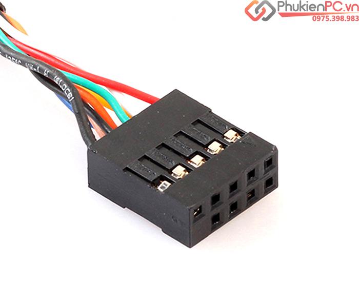 Cáp chuyển đổi 9Pin Female Header Mainboard to 2 USB Female