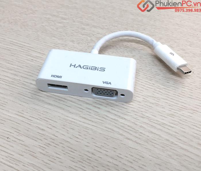 Cáp chuyển đổi Thunderbolt 3 sang HDMI và VGA Hagibis chính hãng