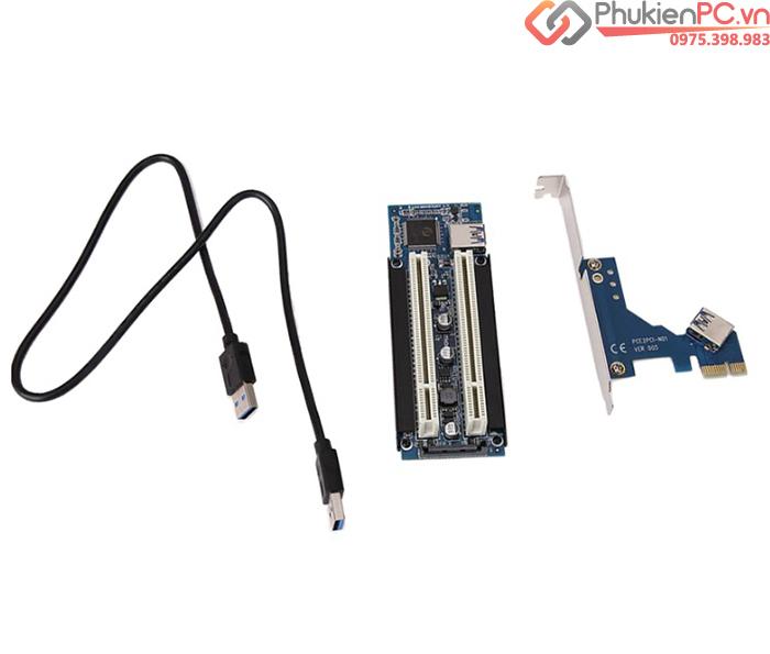 Card chuyển đổi PCIe 1X sang 2 PCI thường (cáp USB 3.0)