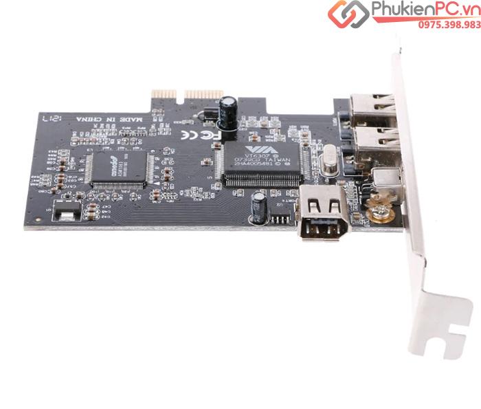 Card PCIe 1X to 1394A 4pin, 6pin kèm cáp 1394