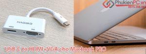 Cách nối Macbook Pro 13 2018 ra máy chiếu VGA, Tivi HDMI 2 trong 1