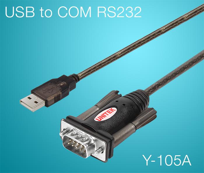 Cáp USB sang COM RS232 Unitek Y-105A dài 1.5M Win XP, 7, 8, 10